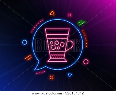 Frappe Coffee Icon. Neon Laser Lights. Cold Drink Sign. Beverage Symbol. Glow Laser Speech Bubble. N
