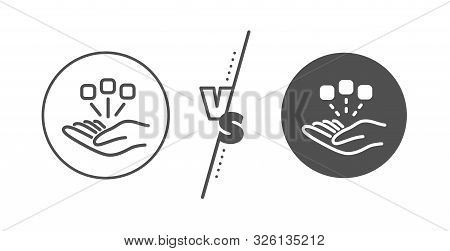 Business Strategy Sign. Versus Concept. Consolidation Line Icon. Line Vs Classic Consolidation Icon.