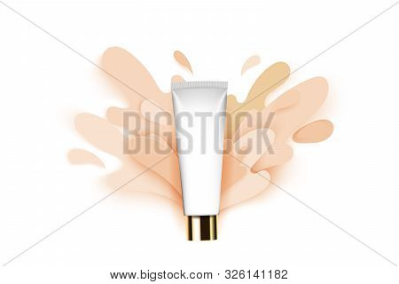 Paper Cut Style Splashes Of Color Foundation, Tonal Base, Conceptual Illustration, Template For Prod