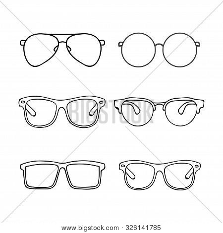 Collection Of Glasses Outline Design Isolated White Background. Glasses Silhouette. Sun Glasses Hips