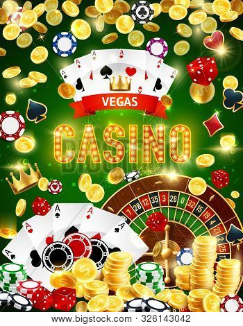 Casino Roulette, Poker And Blackjack Gambling Games Vector Design With Chips, Dice, Playing Cards An