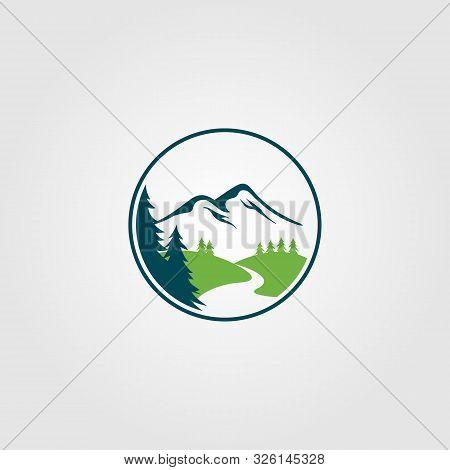 Adventure Pine Tree Creek Nature River Logo Vector Design