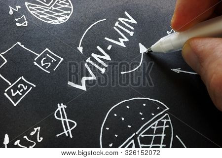 Man Is Writing Win-win Negotiation Or Solution.