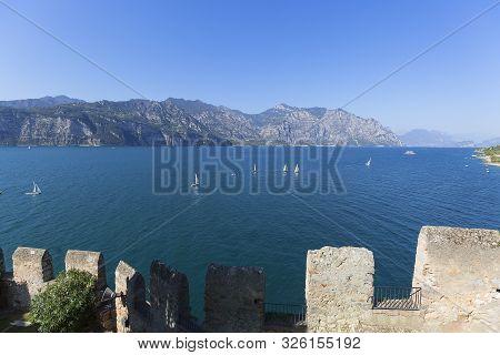 Malcesine, Italy - September 30, 2018: 13th-century Medieval Stone Scaliger Castle (castello Scalige