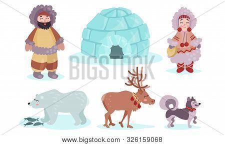 Vector Illustration Set With Eskimos Culture Symbols Isolated On White Background