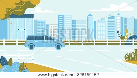 City Traffic, Car Driving On Urban Cityscape Background, Transport On Speedway, Blue Minivan Automob