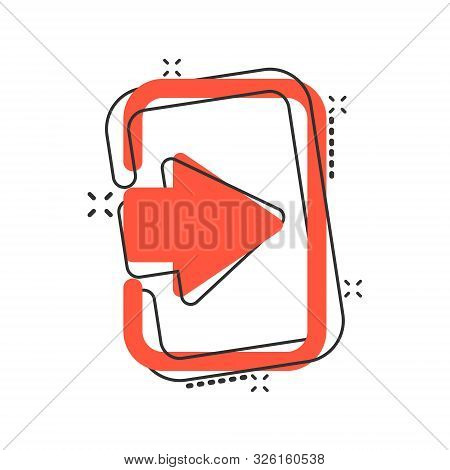 Vector Cartoon Entrance Door Icon In Comic Style. Exit Doors Concept Illustration Pictogram. Doorway