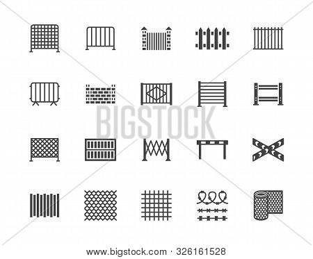 Fence Flat Glyph Icons Set. Wood Fencing, Metal Profiled Sheet, Wire Mesh, Crowd Control Barricades