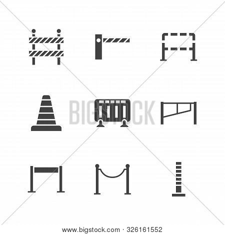 Roadblock Flat Glyph Icons Set. Barrier, Crowd Control Barricades, Rope Stanchion Vector Illustratio