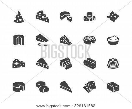 Cheese Flat Glyph Icons Set. Parmesan, Mozzarella, Yogurt, Dutch, Ricotta, Butter, Blue Chees Piece