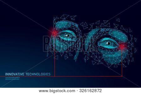 Low Poly Female Eyelid Face Laser Skin Treatment. Rejuvenation Procedure Beauty Salon Eye Care. Clin