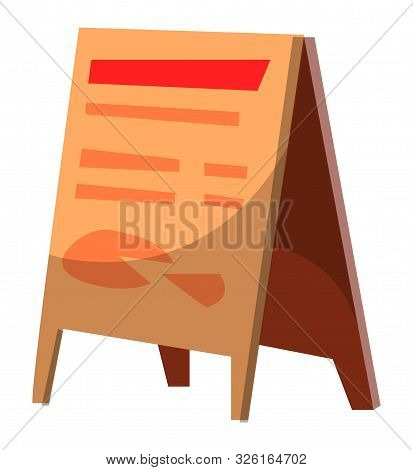 Wooden Menu Board With Prices And Dishes, Isolated Table With Cheese Or Bread Icon. Sign Of Diner An