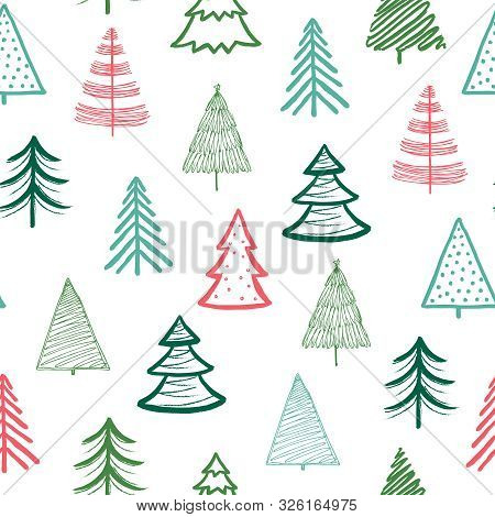 Doodle Fir-tree Pattern. Christmas Tree Handmade Wallpaper. Xmas Spruce Cute Sketch Vector Winter Ho