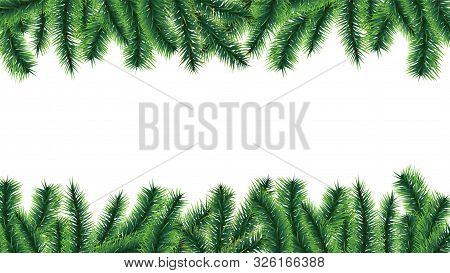 Christmas Tree Border. Holiday Banner, Vector Fir Tree Branches Isolated On White Background. Illust