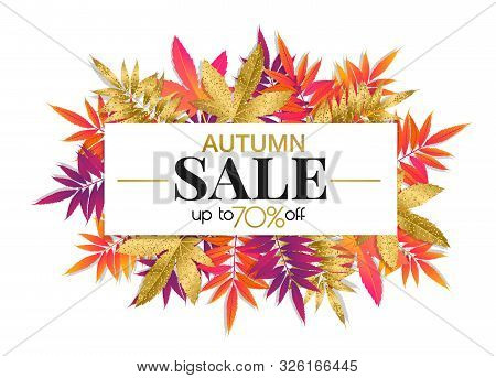 Autumn Sale Banner With Bright And Gold Autumn Leaves, Fall Season Promotion Design For Shops. Vecto