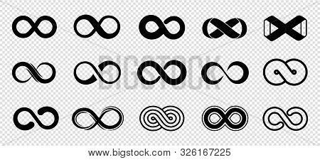 Loop Symbols. Infinity Vector Icons Set. Black Mobius Loop Collection. Curve Endless, Infinity And E