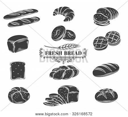 Bread Glyph Icons Set. Rye, Whole Grain And Wheat Bread, Ciabatta, Croissant, Toast Bread, French Ba