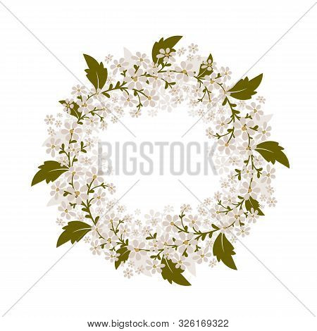 Wreath Of Small White Flowers. Isolated Vector Image.eps 10