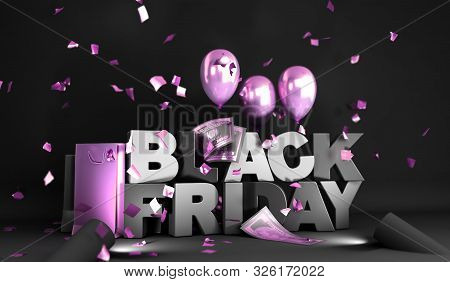 Black Friday Concept Background Big Black Letters With Balls 3d Render Image