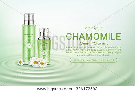 Chamomile Cosmetics Bottles Mock Up Banner. Natural Beauty Product Spray And Pump Tubes Package On G