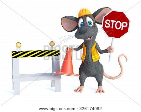 3d Rendering Of A Cute Cartoon Mouse Dressed As A Construction Woker, Holding A Traffic Cone And Sto
