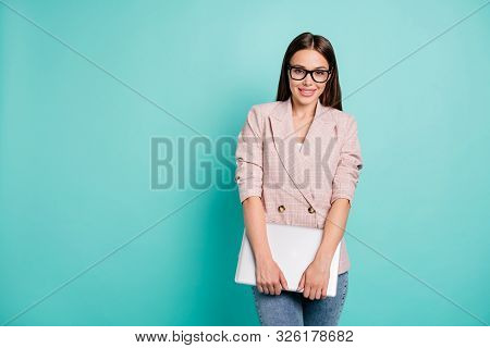 Portrait Of Nice Attractive Pretty Fashionable Lovely Smart Clever Cheerful Cheery Straight-haired L