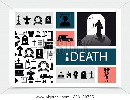 Flat Death Black Elements Composition With Flowers Chapel Cemetery Crosses Hearse Car Dead Man Photo