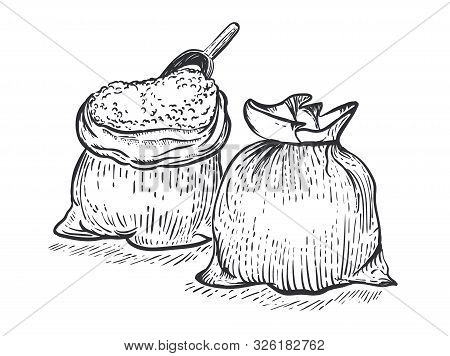 Two Bag Of Burlap With Flour Scoop On White Background. Hand Draw Vector Illustration In Engraving S