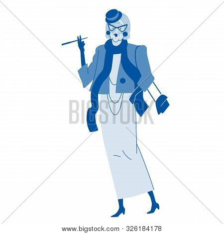 Cheerful Happy Fashionable Stylish Old Women. Female Cartoon Character. Body Positive. Beautiful Old