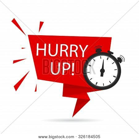 Hurry Up Icon For Promotion, Special Deal, Discount, Offer, With Clock. Countdown Banner, Tag With H