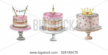 Watercolor Cake Set Fo Baby Birthday. For Small Princess Hand Drawn Watercolor Cake Collection.
