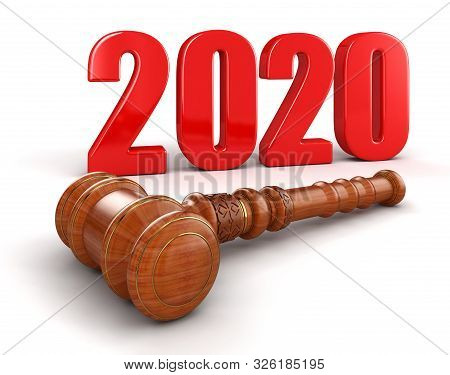 3d Illustration. 3d Wooden Mallet And 2020. Image With Clipping Path