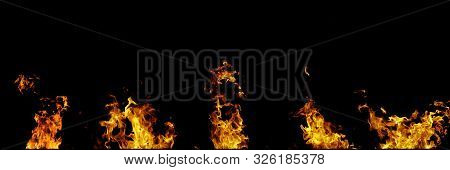 Real Fire Flames Isolated On Black Background. Mockup Of 5 Flames.