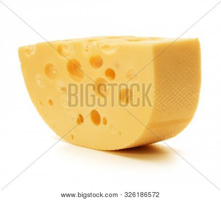 Cheese block isolated on white background cutout..