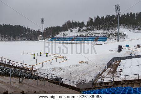 Lahti, Finland- 02 March 2015: Lahti Stadium , Lahden Stadion. Stadium Is Used In Skiing, Biathlon A