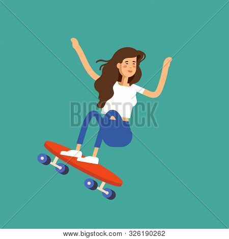 Vector illustration of a girl skateboarder riding a skateboard. Urban female citizen character. poster