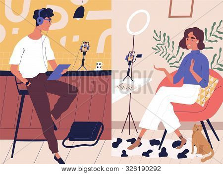 Live Streaming, Broadcast Flat Vector Illustration. Male And Female Social Media Network Bloggers Co