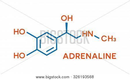 Adrenaline Hormone Molecular Formula. Human Body Hormones Symbol