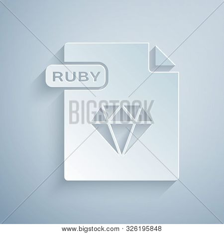 Paper Cut Ruby File Document. Download Ruby Button Icon Isolated On Grey Background. Ruby File Symbo