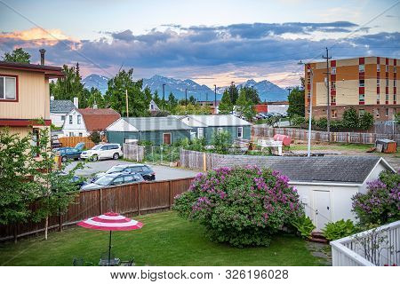 Anchorage, Alaska - June 8 - A Scenic Backyard View In A Local Neighborhood On June 8 2019 In Anchor