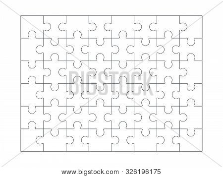 Puzzle Background. Jigsaw Blank White Puzzle Set For Design Projects Vector Line Collection. Pattern