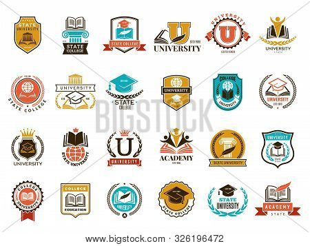 College Emblem. School Or University Identity Symbols Badges And Logo Vector Collection. College And
