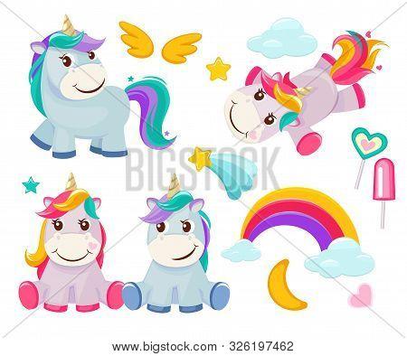 Unicorn. Cute Magic Animals Happy Birthday Symbols Little Pony Baby Horse Vector Colored Cartoon Pic