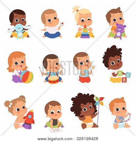 Baby Characters. New Born Kids Playing Toys Happy Childhood Small Little One Vector Babies. Illustra