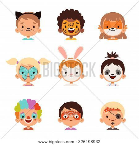 Face Painting Avatars. Kids Happy Portraits Creative Makeup Drawings Vector Collection. Makeup Face,