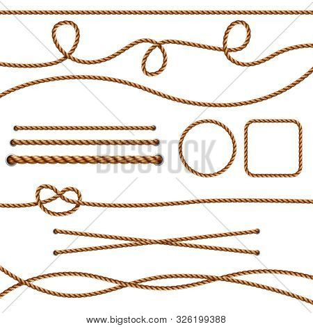 Fiber Ropes. Straight Brown Realistic Threads Ropes Crossing Marine Knots Vector Pictures. Illustrat