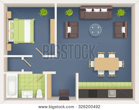 Interior plan top view. Realistic appartment livingroom bathroom badroom furniture table wardrobe sofa chairs tables vector realistic. Illustration interior top view, furniture plan living room poster