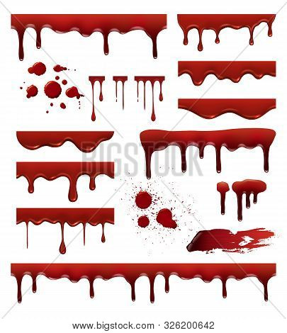 Liquid Blood. Red Sauces Drops Splashes Blob Blood Stain Vector Templates Collection. Blood Liquid,