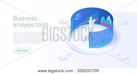 Business Investment Isometric Vector Illustration. Data Analytics For Company Marketing Solutions Or