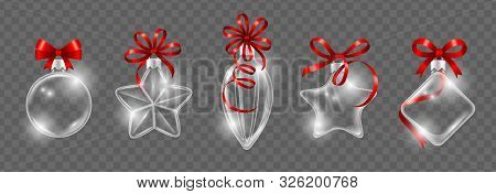 Glass Christmas Toys With Red Ribbon Bow. Realistic Glass Ball Vector Collection. New Year Decoratio